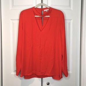 Red blouse, long sleeve
